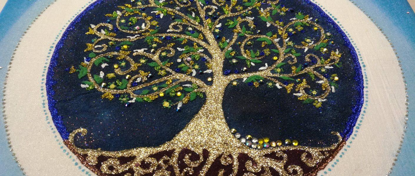 pieskový strom života mandala modrý