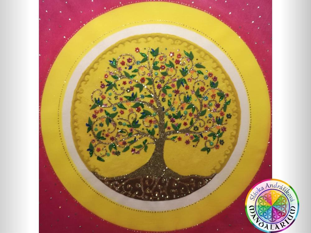 cesta stromu života v mandale piesková mandala