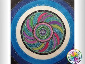 duchovná mandala žiarivý kruh nebeská blaženosť piesková mandala