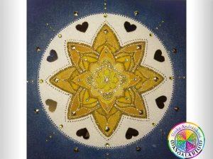 mandala života zlatá hivezda v strede piesková mandala