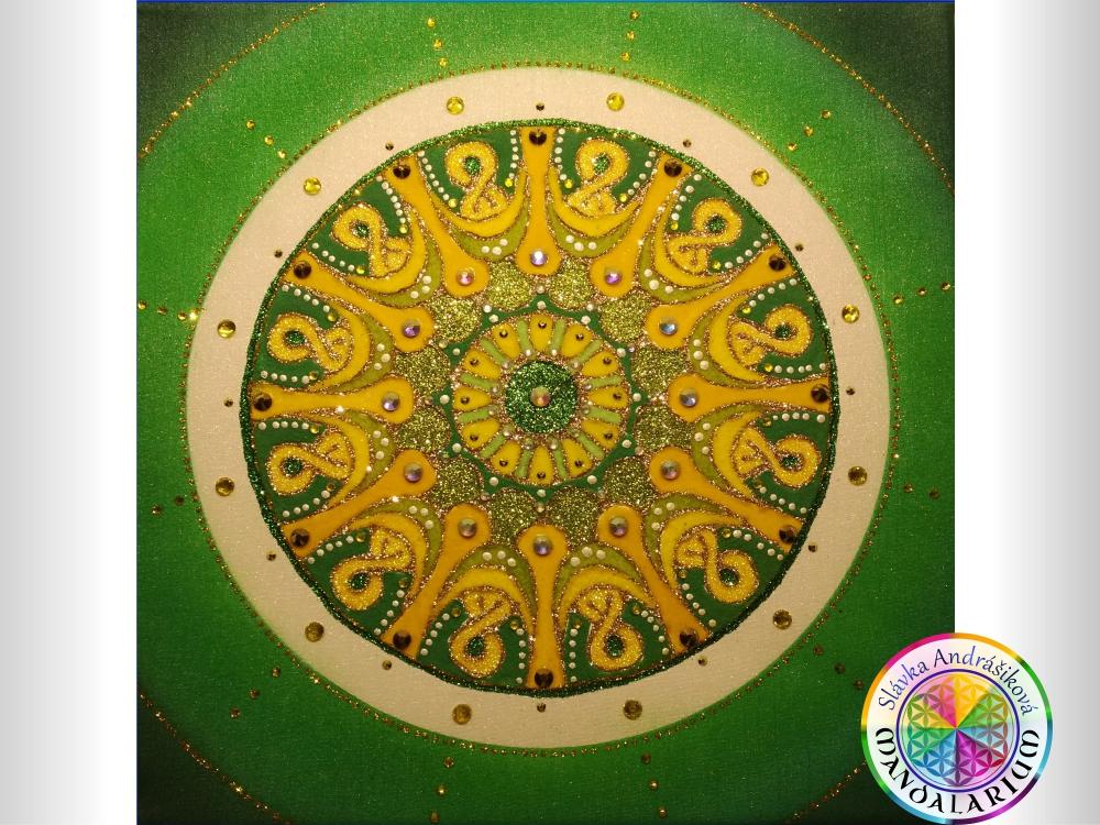 partnerska mandala aztek makchu pikchu aztec zelená zlatá piesková mandala
