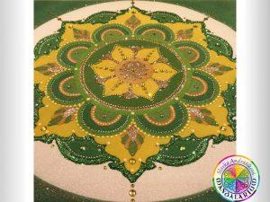 pieskové tibetské mandaly piesková mandala zelená
