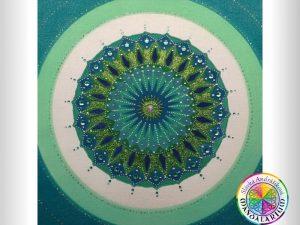 zelená mandala okrasná mandala na stenu darček piesková mandala