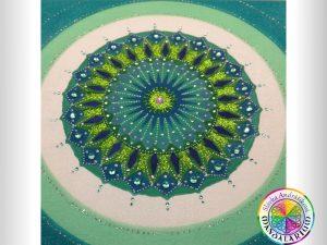 zelená mandala kruhu čarovného piesková mandala
